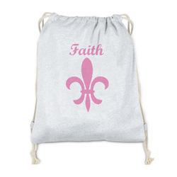 Fleur De Lis Drawstring Backpack - Sweatshirt Fleece (Personalized)
