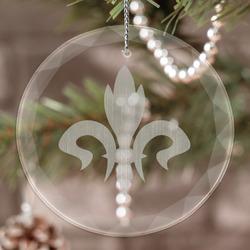 Fleur De Lis Engraved Glass Ornament (Personalized)