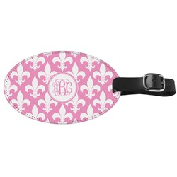 Fleur De Lis Genuine Leather Oval Luggage Tag (Personalized)