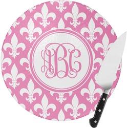 Fleur De Lis Round Glass Cutting Board (Personalized)