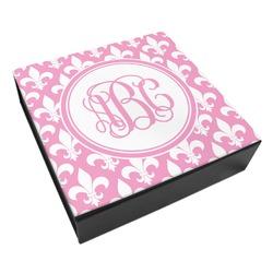 Fleur De Lis Leatherette Keepsake Box - 8x8 (Personalized)