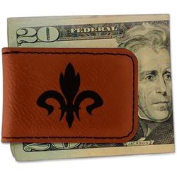 Fleur De Lis Leatherette Magnetic Money Clip - Single Sided (Personalized)