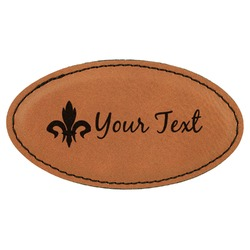 Fleur De Lis Leatherette Oval Name Badge with Magnet (Personalized)
