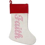Fleur De Lis Red Linen Stocking (Personalized)