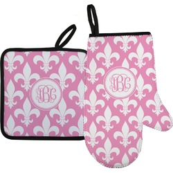 Fleur De Lis Oven Mitt & Pot Holder Set w/ Monogram