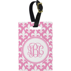 Fleur De Lis Plastic Luggage Tag - Rectangular w/ Monogram