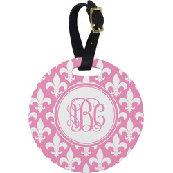 Fleur De Lis Plastic Luggage Tag - Round (Personalized)