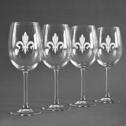 Fleur De Lis Wine Glasses (Set of 4) (Personalized)
