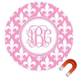 Fleur De Lis Round Car Magnet (Personalized)