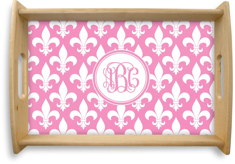 Fleur de lis natural wooden tray personalized youcustomizeit - Fleur de lis serving tray ...