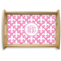 Fleur De Lis Natural Wooden Tray (Personalized)