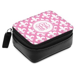 Fleur De Lis Small Leatherette Travel Pill Case (Personalized)