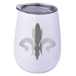 Fleur De Lis Stemless Wine Tumbler - 5 Color Choices - Stainless Steel  (Personalized)