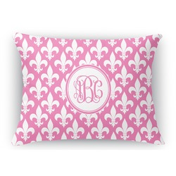 Fleur De Lis Rectangular Throw Pillow Case (Personalized)
