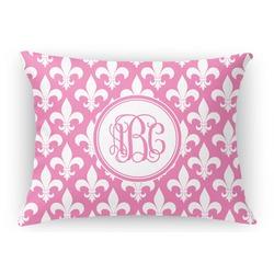 Fleur De Lis Rectangular Throw Pillow Case (Personalized)