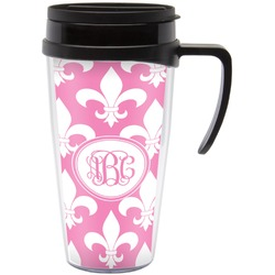 Fleur De Lis Travel Mug with Handle (Personalized)