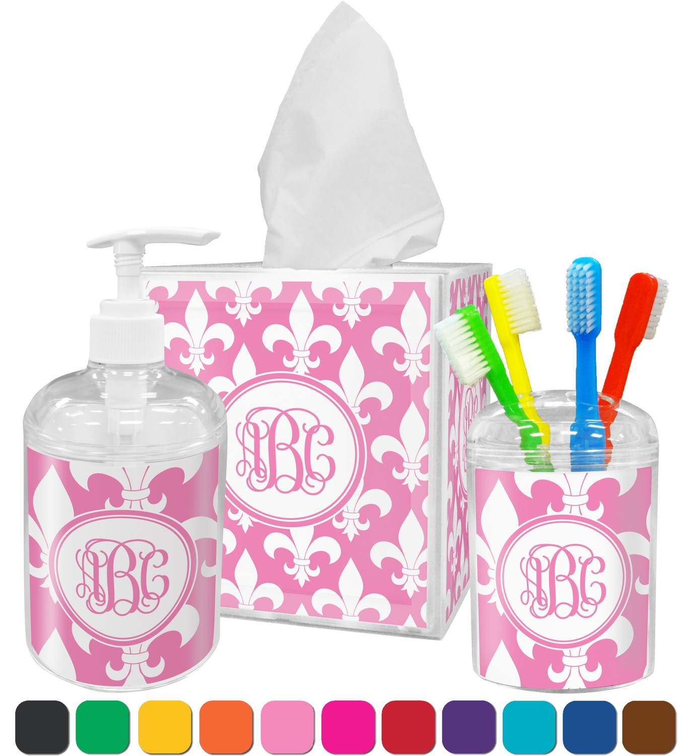 Fleur De Lis Bathroom Accessories Set (Personalized) - YouCustomizeIt