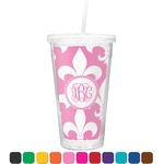 Fleur De Lis Double Wall Tumbler with Straw (Personalized)