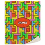 Tetris Print Sherpa Throw Blanket (Personalized)