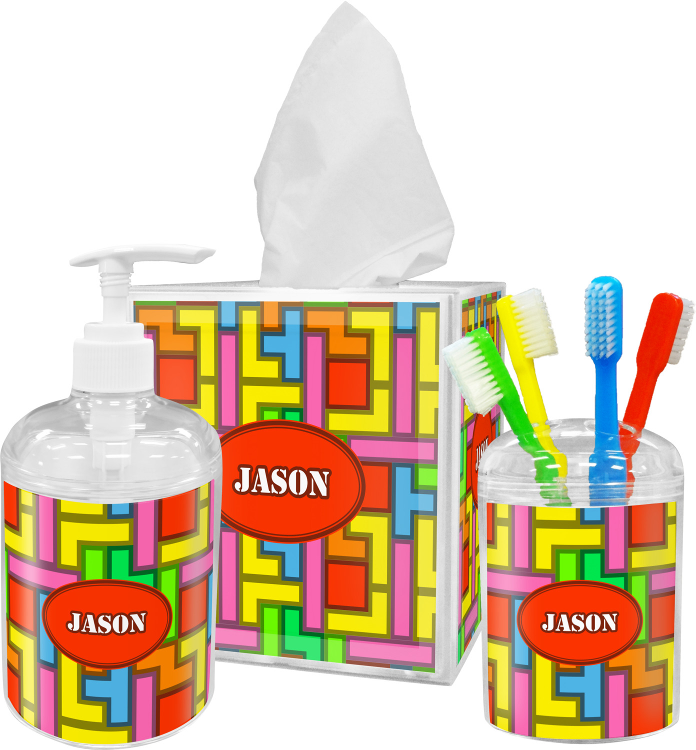 Tetris print bathroom accessories set personalized - Monogrammed bathroom accessories ...