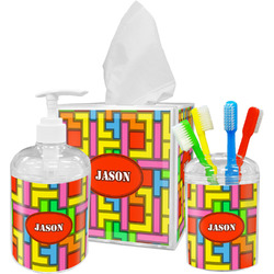 Tetris Print Bathroom Accessories Set (Personalized)