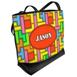 Tetris Print Beach Tote Bag (Personalized)