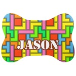 Tetris Print Ceramic Pet Bowl Medium Personalized