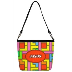 Tetris Print Bucket Bag w/ Genuine Leather Trim (Personalized)