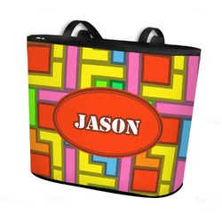 Tetromino Bucket Tote w/ Genuine Leather Trim (Personalized)