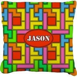 "Tetris Print Faux-Linen Throw Pillow 26"" (Personalized)"