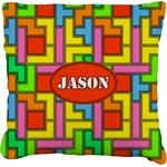 Tetris Print Burlap Throw Pillow (Personalized)