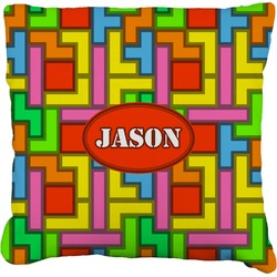 Tetromino Faux-Linen Throw Pillow (Personalized)