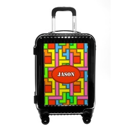 Tetris Print Carry On Hard Shell Suitcase (Personalized)