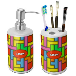 Tetris Print Bathroom Accessories Set (Ceramic) (Personalized)