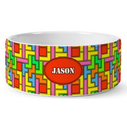 Tetris Print Ceramic Pet Bowl (Personalized)
