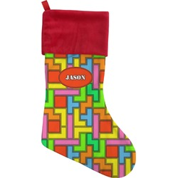 Tetris Print Christmas Stocking (Personalized)