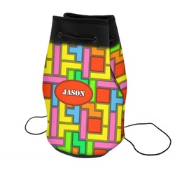 Tetris Print Neoprene Drawstring Backpack (Personalized)