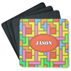 Tetris Print 4 Square Coasters - Rubber Backed (Personalized)