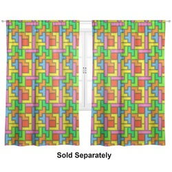 "Tetris Print Curtains - 20""x63"" Panels - Unlined (2 Panels Per Set) (Personalized)"