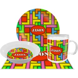 Tetris Print Dinner Set - 4 Pc (Personalized)