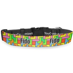 """Tetris Print Deluxe Dog Collar - Large (13"""" to 21"""") (Personalized)"""