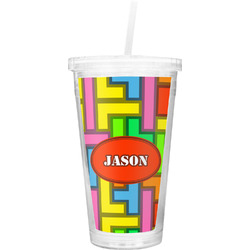 Tetris Print Double Wall Tumbler with Straw (Personalized)