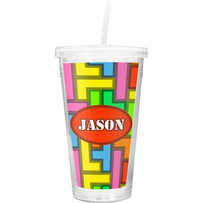 Tetromino Double Wall Tumbler with Straw (Personalized)