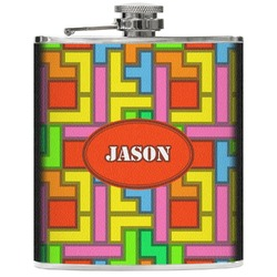 Tetris Print Genuine Leather Flask (Personalized)