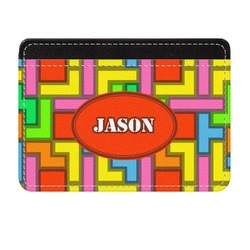 Tetris Print Genuine Leather Front Pocket Wallet (Personalized)