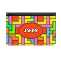Tetris Print Genuine Leather ID & Card Wallet - Slim Style (Personalized)