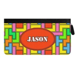 Tetris Print Genuine Leather Ladies Zippered Wallet (Personalized)