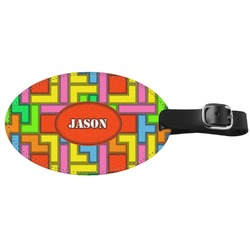 Tetris Print Genuine Leather Oval Luggage Tag (Personalized)