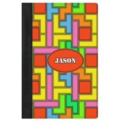 Tetris Print Genuine Leather Passport Cover (Personalized)