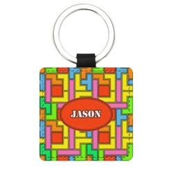Tetris Print Genuine Leather Rectangular Keychain (Personalized)